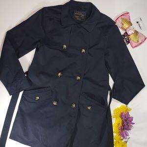 Zara Outwear Navy Blue Trench Coat, Size 13/14